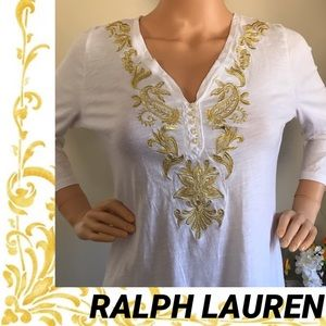 🌟Ralph Lauren Blouse with gold embroidery. 🌟🌟